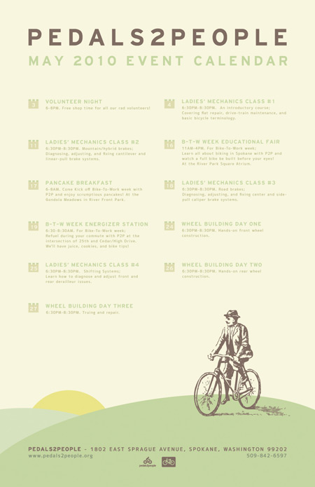 Pedals2People May Events Calendar